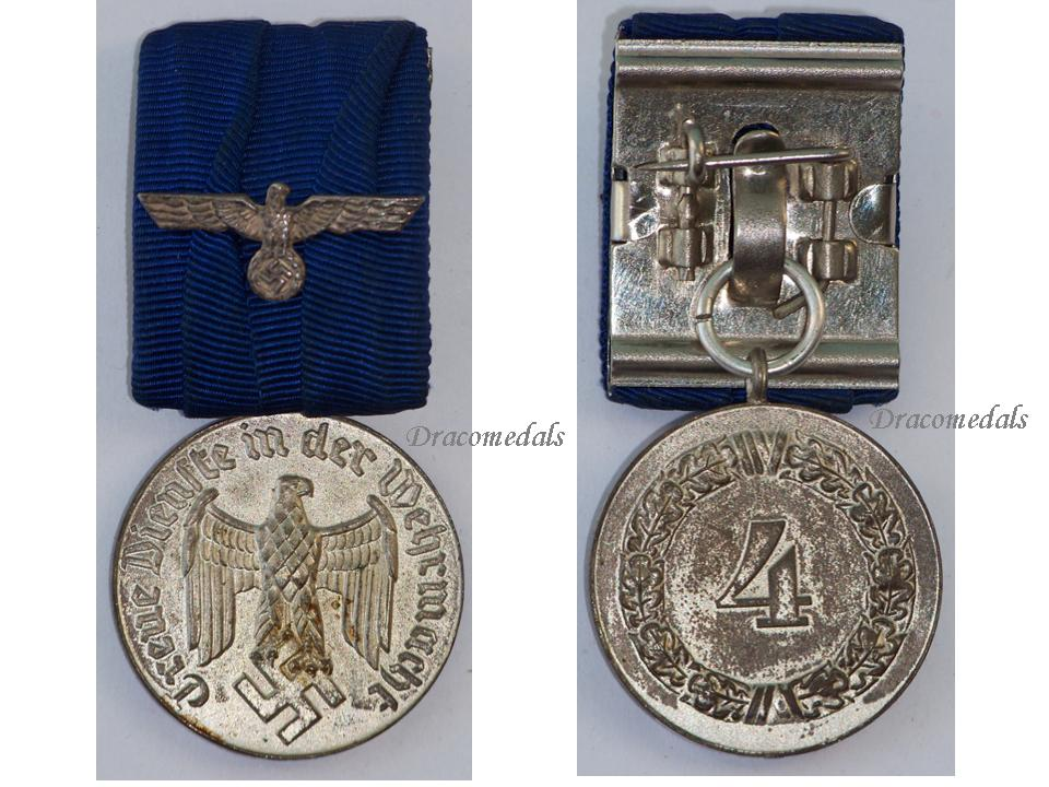 Nazi germany ww2 wehrmacht long service medal 4th class german eagle wwii dracomedals medals - German military decorations ww2 ...